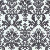 02485-30 vinyl op vlies behang wit zwart met zilver glitter op patroon_