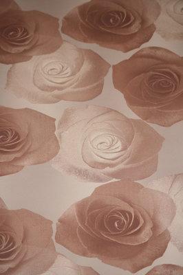 deco wlls vlies rozen  bruin /koper kleur