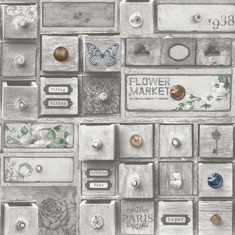 101508 romantische landelijke laadjes vlies behang