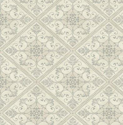 etten mercury windsor castle zilver/off white damask op vlies 2e foto voorbeeld patroon