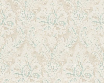 barok behang new classics as creation 30494-3 vinyl  creme wit turquoise/groen glans