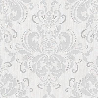 cortina 785-03 barok off white grijs met zacht glitter effect op patroon