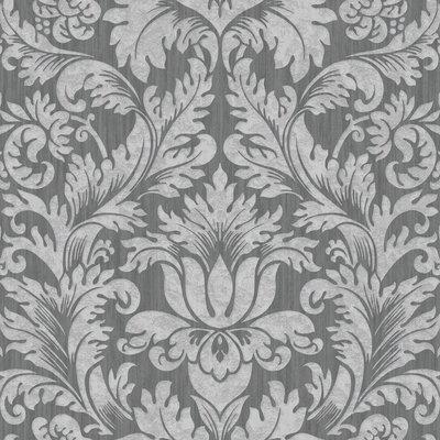 cortina 785-04 barok  grijs met zacht glitter effect op patroon