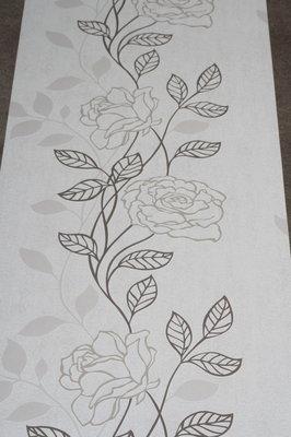 845-05 bloemen behang bruin