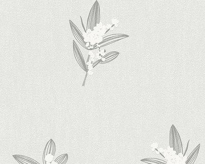 30138-5 licht grijs met bloem vlies