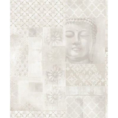 670100 buddha enlighten behang met glitter