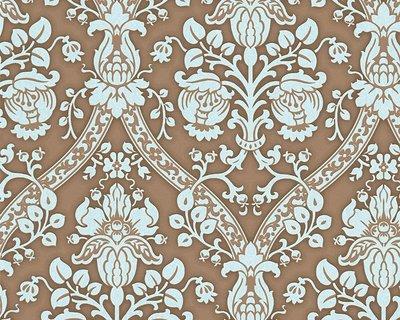 A.S. Création 956894  Floral barok Vlies AS Creation Flock 4 bruin lichtbauw zacht glittereffect
