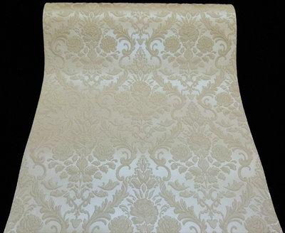 18197-10 vinyl met relief barok bloemen wit champagne creme met gouden glitter