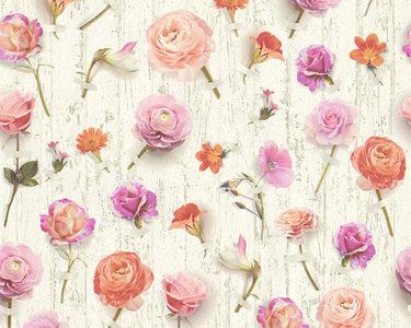 AS Creation Urban Flowers 32723-3 bloemen op hout optiek vlies