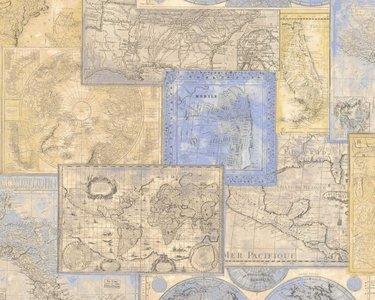 AS Creation Dekora Natur behang 6643-10 old antique maps of the world vinyl
